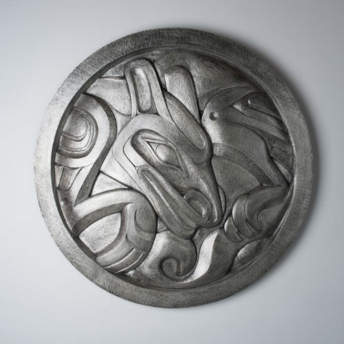 Forton Wolf Panel Alano Edzerza (Tahltan) |Douglas Reynolds Gallery | Photo from ArtWalk website