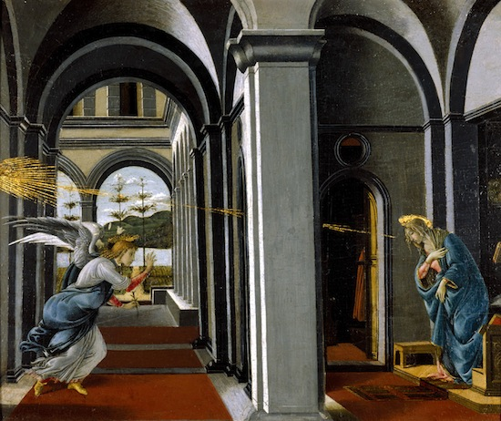 The Annunciation PAINTINGS painting Botticelli, Sandro (circa 1445 - 1510, Italian) Italy, Florence tempera on panel Italian unframed dimensions: 495 x 619 mm; framed: 810 x 950 x 180 mm; sight edge 491 x 602 mm    Painting entitled 'The Annunciation' by Botticelli. Within a vaulted building the Virgin stands, with head bowed down at the apparition of the Angel of the Annunciation, who comes flying towards her through a portico, beyond which is seen a landscape with hills. Rays of glory are also directed towards the Virgin 174