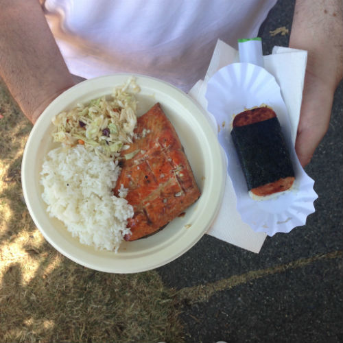 Salmon dinner (left) and Spam musubi |Photo credit Owen Cameron