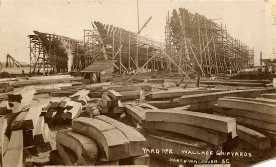 Historical photo of North Vancouver shipyards