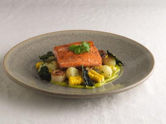 Perch-Salmon with confit potato