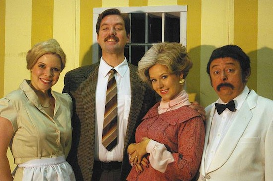 The cast for Metro Theatre's production of three episodes of the classic British sitcom Fawlty Towers.