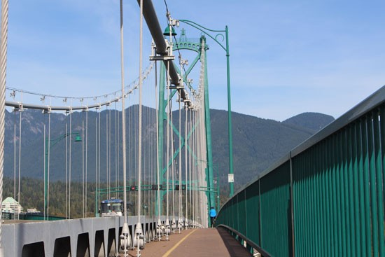 Cycling on the Lions Gate Bridge, Vancouver