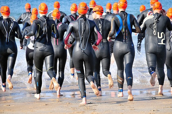 Participants in a triathlon. Photo from Pixabay