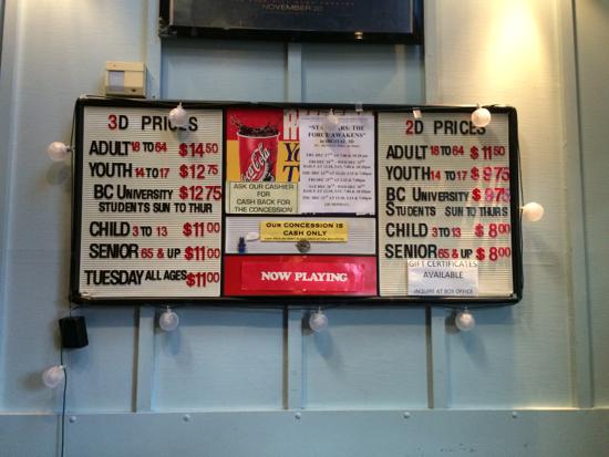 Dunbar Theatre prices