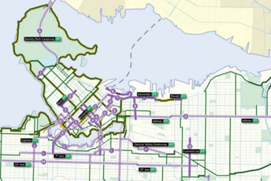 New proposed bike routes (solid purple lanes) and upgrades to existing routes (dotted purple lines). Credit: City of Vancouver