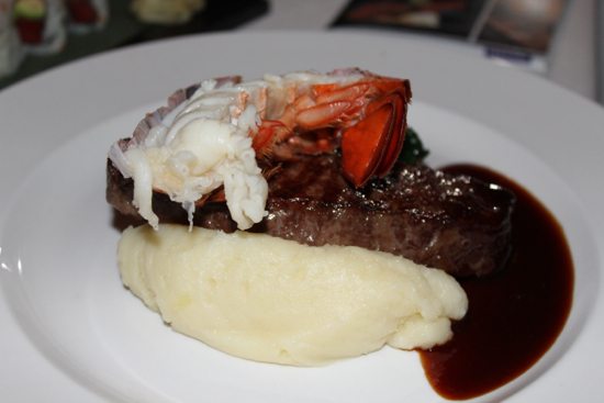 The roasted striploin with lobster tail
