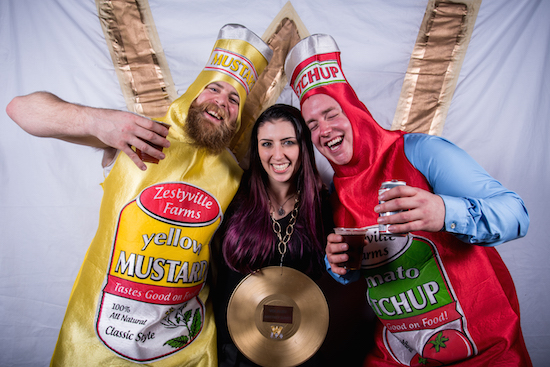 Best Vocalist Brittney Slayes in a mustard and ketchup sandwich.