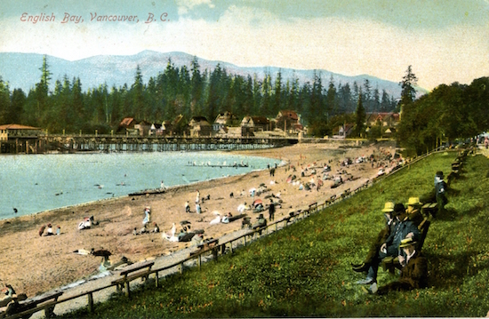 A historic postcard showing English Bay as it used to be