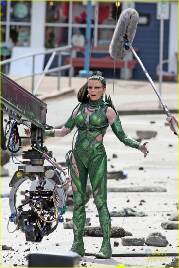 Elizabeth Banks portrays Rita Repulsa on the Power Rangers shoot in Vancouver. Photo: JustJared.com