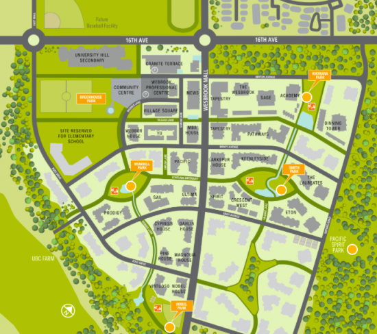Parks Map   Photo: Wesbrook Village Website