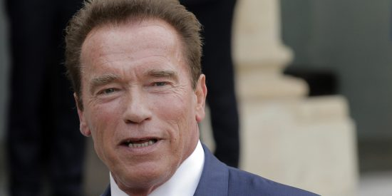 Former Governor of California and founding chair of the R20 initiative, Arnold Schwarzenegger adresses reporters after a meeting with French President Francois Hollande at the Elysee Palace in Paris, Friday, Oct. 10, 2014. The R20 is a coalition of partners led by regional governments that work to promote and implement projects that are designed to produce local economic and environmental benefits in the form of reduced energy consumption and greenhouse gas emissions, strong local economies, improved public health, and new green jobs. (AP Photo/Christophe Ena)