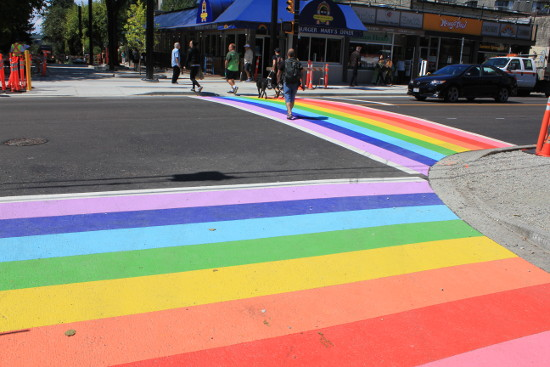 Freshly painted rainbow crosswalks