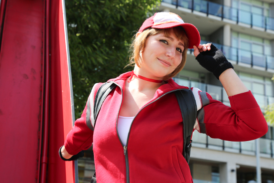 Pokémon Go enthusiast, Victoria Fawkes at the Olympic Village in a handmade replica of her Pokémon Go character's costume.