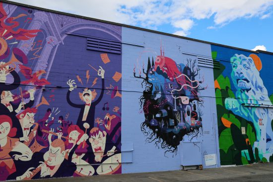 Murals by (left) Tim Mack, @timlmack, (center) Julia Iredale, @julia_iredale, (right) Kyle Scott, @kjscottart