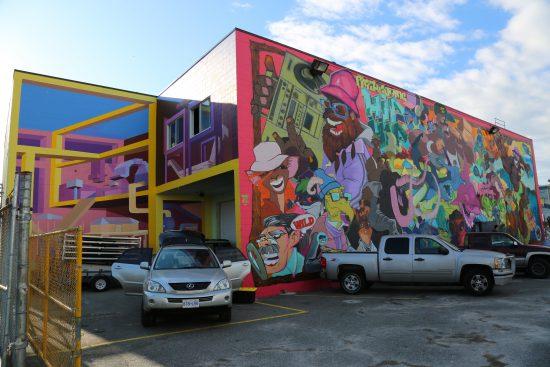 Murals (left) by Mark Illing, @mar_killing and (right) Dedos, @nomadicalternatives