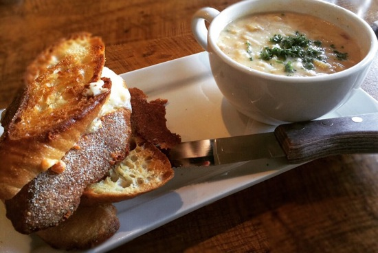 Grilled cheese and soup at Burgoo; Photo Credit: Tara Lee