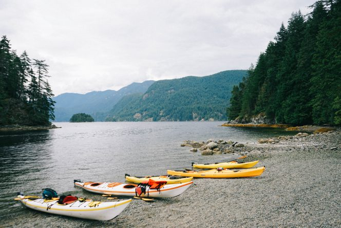 Kayaks on the beach near North Vancouver, BC