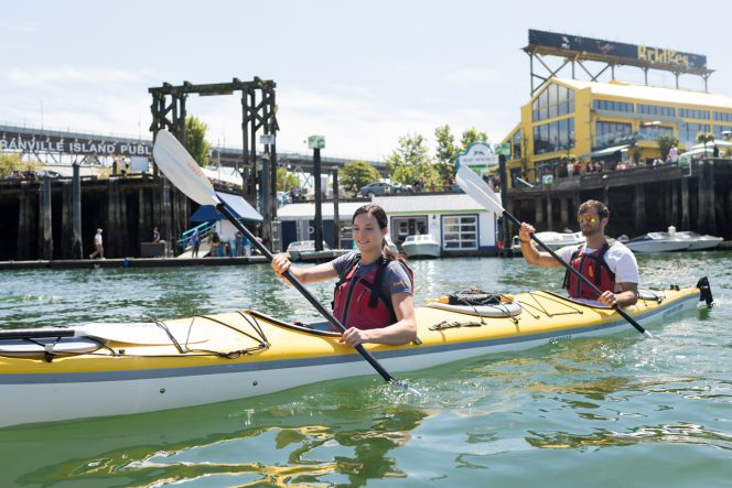 Kayaking in False Creek, Vancouver, BC