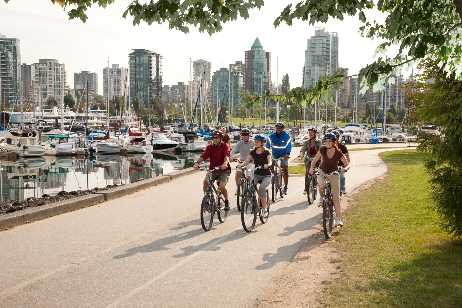 A group of cyclists on the seawall in Vancouver's Stanley Park.