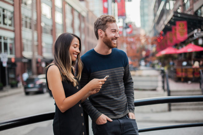 Vancouver couple Yaletown smartphone