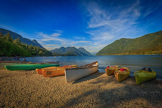 Rental canoes at Alouette Lake near Vancouver, BC