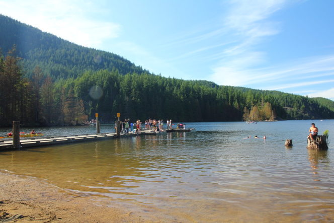 Swimming at Bunzten Lake near Vancouver, BC