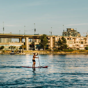 Paddleboarding on False Creek in Vancouver