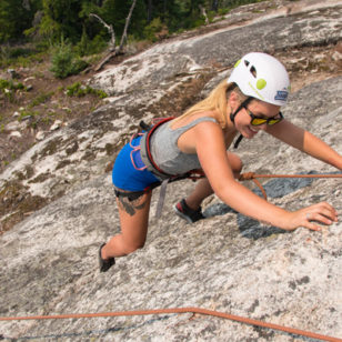 A woman rock climbing near Squamish BC
