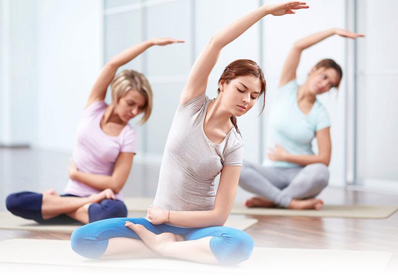 side stretch yoga galentines day