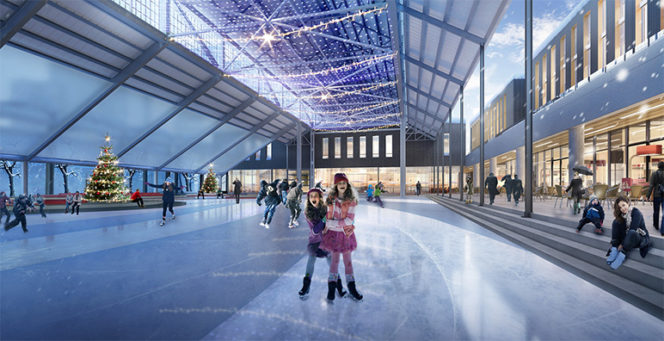 Artists rendering of the what the new Shipyard Commons ice rink in North Vancouver will look like once it is open