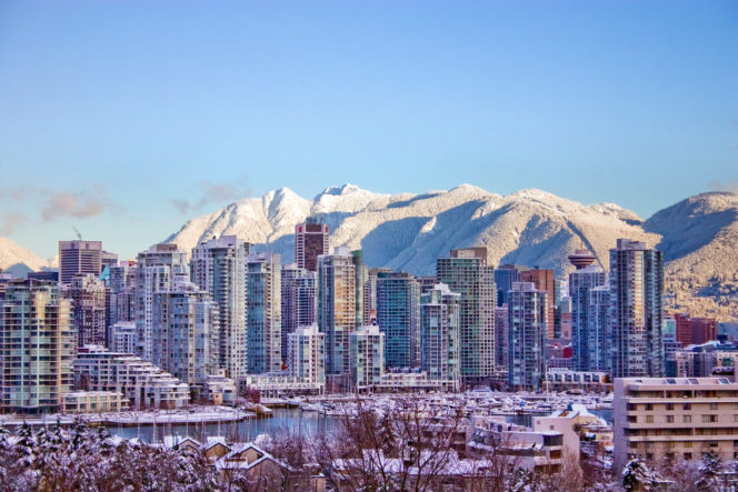 Vancouver's skyline and mountains covered in snow