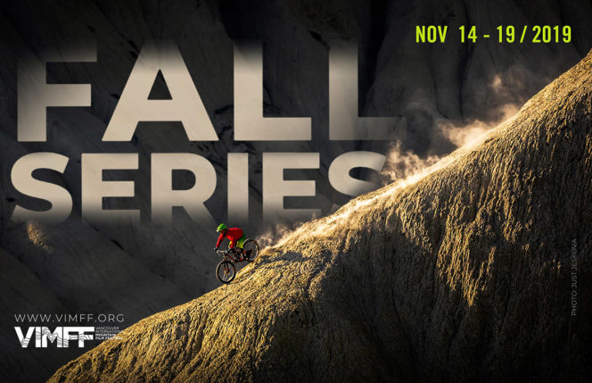 Vancouver International Mountain Film Festival Fall Series poster with photo of a mountain biker descending a slope