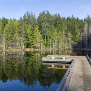 The dock at Whyte Lake in West Vancouver, an easy hike
