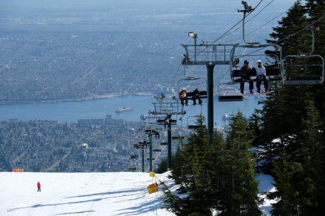 Skiing at Grouse Mountain near Vancouver