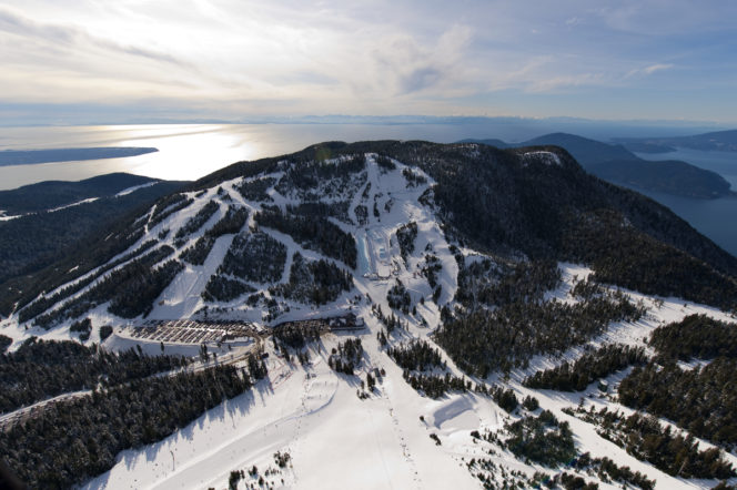 Aerial view of ski runs at Cypress Mountain near Vancouver in winter
