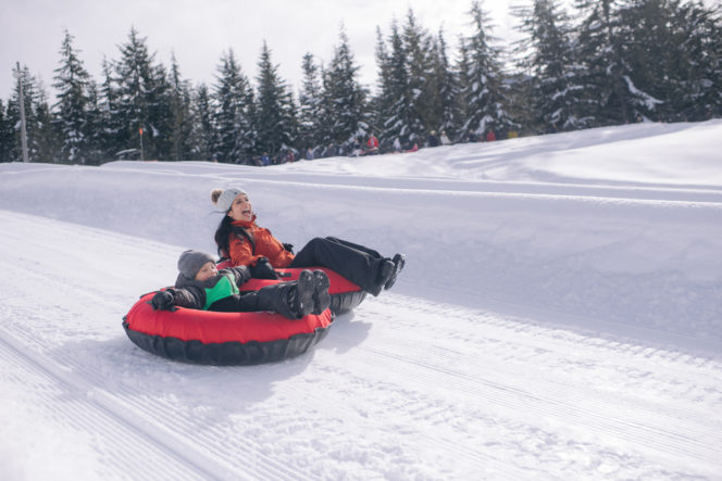 Snow tubing at the Coca Cola Tube Park in Whistler