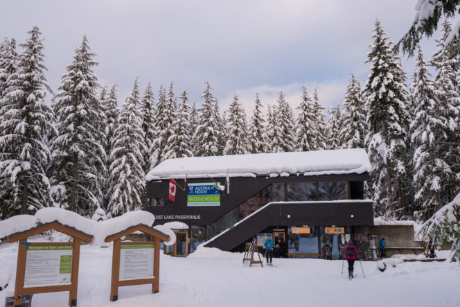 PassivHaus day lodge at the Lost Lake cross-country ski area in Whistler