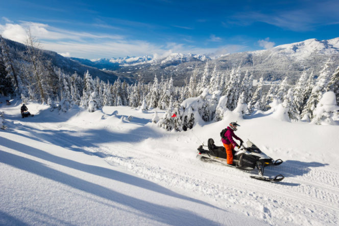 Snowmobiling in the Callaghan Valley near Whistler