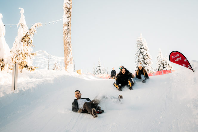 Sledding at Grouse Mountain in Vancouver