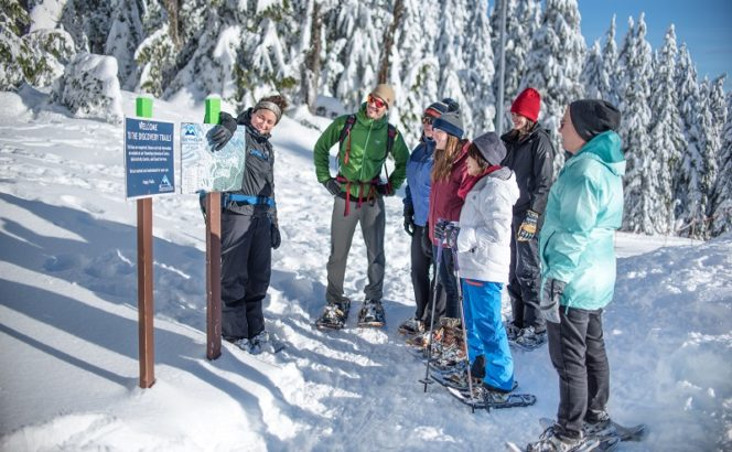 A group of snowshoers at Mount Seymour in North Vancouver
