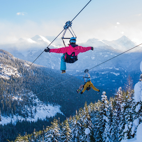 Riding the Superfly Ziplines near Whistler