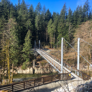 Twin Bridges suspension bridge in the Lower Seymour Conservation Reserve in North Vancouver, BC
