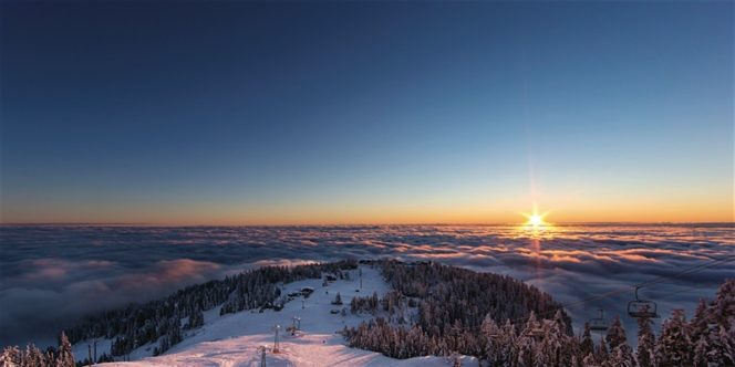 Sunrise at Grouse Mountain Resort in Vancouver