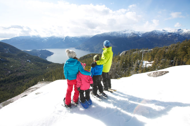 Family snowshoeing at the Sea to Sky Gondola in Squamish