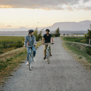 Cycling the West Dyke Trail in Richmond near Vancouver, BC
