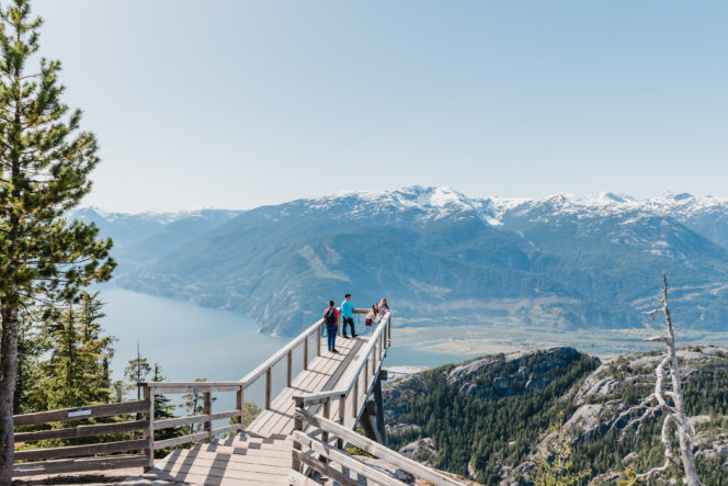 Viewing platform on the Panorama Trail at the Sea to Sky Gondola in Squamish, BC