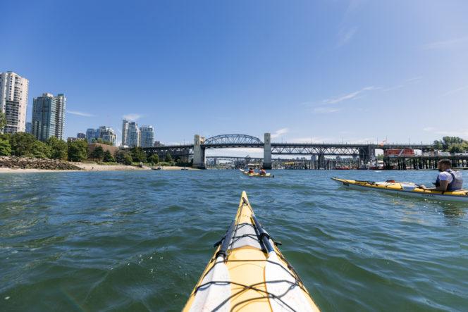 Kayaking near the Burrard Street Bridge in Vancouver