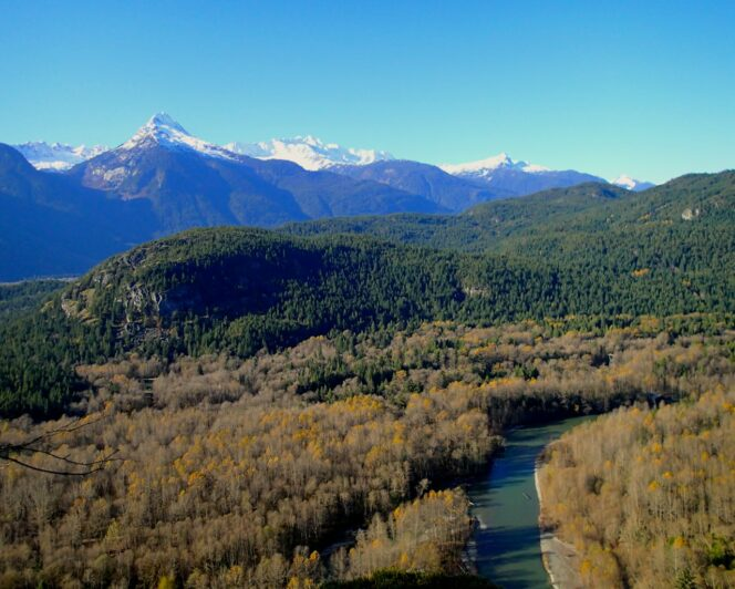 View of the Tantalus Mountains and Cheakamus River in Squamish