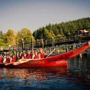Traditional cedar Tsleil-Waututh Canoe near Vancouver, BC